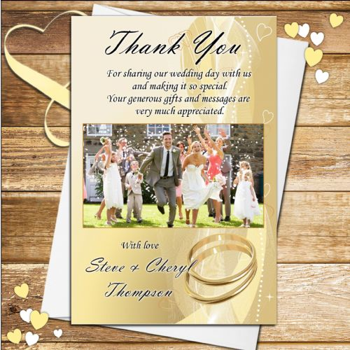 10 Personalised Wedding Thank you Photo cards N158
